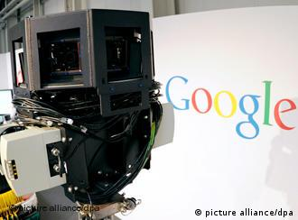 A camera from Google's Street View in Germany and the company's logo