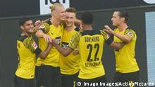 Erling HAALAND, Haland, BVB 9 scores, shoots goal , Tor, Treffer,, 3-1, celebrates his goal, happy, laugh, celebration, Marco REUS, BVB 11 Nico SCHULZ, BVB 14 Mahmoud DAHOUD, BVB 8 Jude BELLINGHAM , Nr. 22 BVB in the match BORUSSIA DORTMUND - EINTRACHT FRANKFURT 1.German Football League on August 14, 2021 in Dortmund, Germany Season 2020/2021, matchday 1, 1.Bundesliga, 1.Spieltag, BVB,