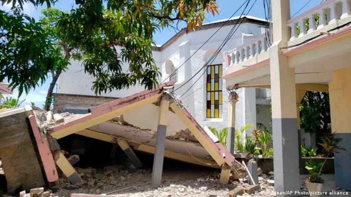 A collapsed church roof in Haiti
