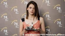 Actress Anastasiya Krasovskaya from Russia of the Film Gerda, posing with the Pardo for the Best Actress during a photocall at the 74th Locarno International Film Festival in Locarno, Switzerland, Saturday, August 14, 2021. The Festival del film Locarno runs from 4 to 14 August 2021.(KEYSTONE/Urs Flueeler)