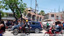 Petit Pas Hotel is damaged after an earthquake in Les Cayes, Haiti, Saturday, Aug. 14, 2021. (AP Photo/Delot Jean)