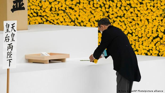 Japanese Prime Minister Yoshihide Suga at a ceremony to mark the 76th anniversary of Japan's surrender in World War II