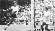 (Original Caption) Germany's Gerd Mueller kicks winning goal past England's goal keeper Peter Bonetti in overtime of quarter-final of World Cup Soccer, 6/14. Germany's 3-2 victory moves it into semifinal against Italy on 6/17 at Azteca Stadium, Mexico City.