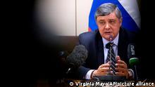 26.10.2017 Der russische Sondergesandte für Afghanistan, Samir Kabulow, spricht bei einer Pressekonferenz am 26.10.2017 im Nato-Hauptquartier in Brüssel (Belgien). (zu dpa «Nato-Generalsekretär: Russisches Manöver größer als angekündigt» vom 26.10.2017) Foto: Virginia Mayo/AP/dpa +++ dpa-Bildfunk +++