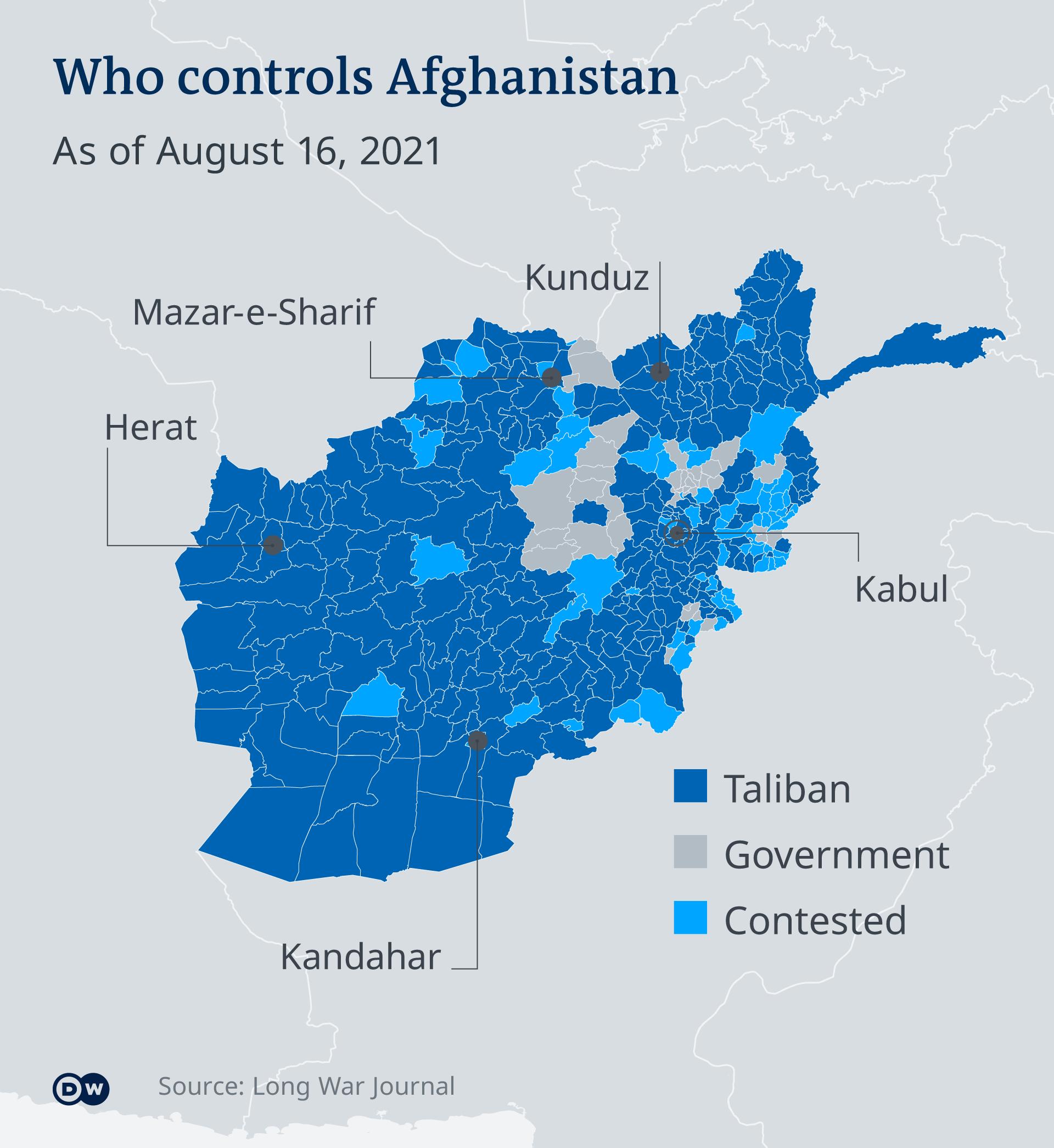 截止8月16日的阿富汗局势图