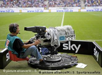 A Sky camera man during a Bundesliga match