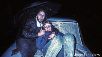 Люба Широкова с мужем, Москва, август 1991 года