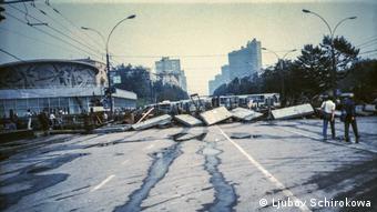 Баррикады на улицах Москвы, август 1991 года