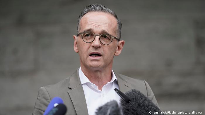 German Foreign Minister Heiko Maas gives a press conference on Afghanistan