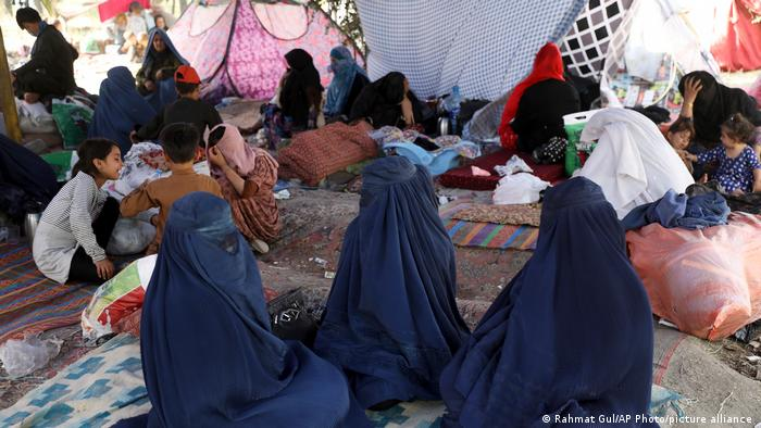 Afghan women and children in a refugee camp