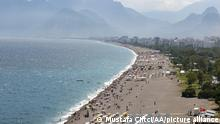 ANTALYA, TURKEY - JUNE 12: A drone photo shows an aerial view of a beach in Antalya, Turkey on June 12, 2021. Tourism density increased in the Mediterranean with the decrease in coronavirus (Covid-19) cases and acceleration of vaccination Mustafa Ciftci / Anadolu Agency
