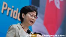 Hong Kong Chief Executive Carrie Lam speaks during a press conference in Hong Kong, Tuesday, Aug. 10, 2021. Lam said Tuesday she supports implementing an anti-foreign sanctions law in the semi-autonomous city, calling the law a countermeasure against the sanctioning of national organizations and Hong Kong officials. (AP Photo/Vincent Yu)