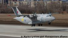 The new light military transport plane, Il-112V takeoff from the Voronezh Aircraft Production Association airfield outside Vorozh, Russia, in this photo dated Tuesday, March 30, 2021. A prototype military transport plane crashed while performing a test flight outside Moscow on Tuesday Aug. 17, 2021, Russian news agencies reported, citing Russia's United Aircraft Corporation. The new light military transport plane, Il-112V, crashed in a forested area as it was coming in for a landing at the Kubinka airfield about 45 kilometers (28 miles) west of Moscow, spokespeople of the corporation told the Tass news agency. (AP Photo/Marina Lystseva)