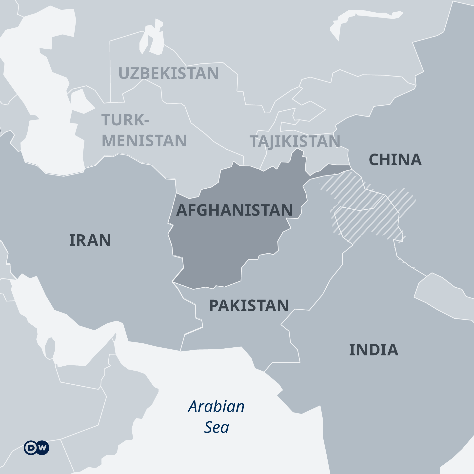 A map indicating the location of Afghanistan