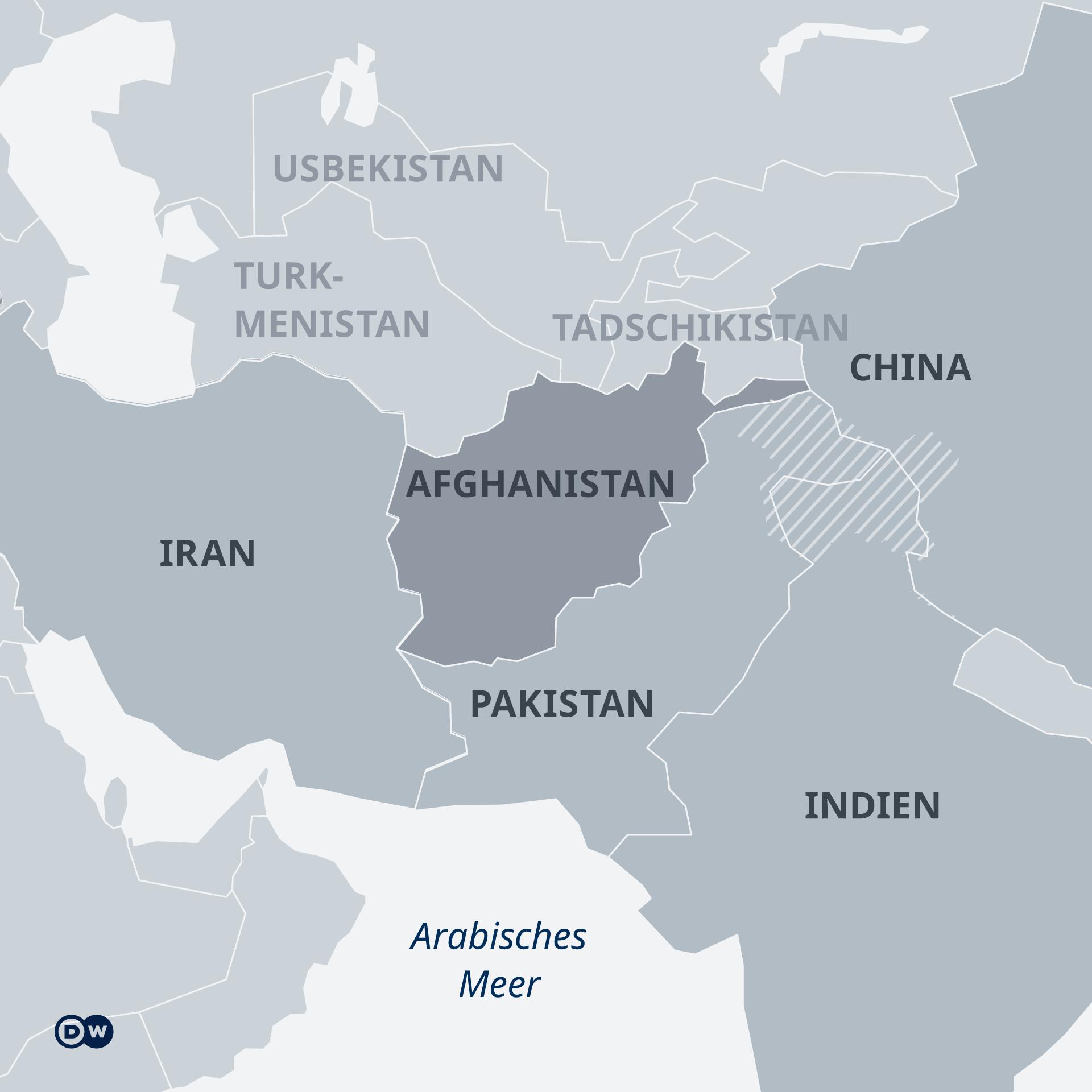 Karte Afghanistan und Nachbarländer DE