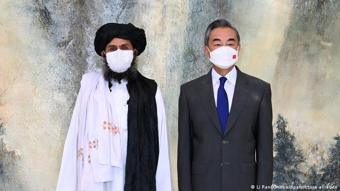 The Taliban's Mullah Abdul Ghani Baradar and China's Wang Yi