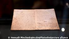 KYIV, UKRAINE - AUGUST 16, 2021 - The Latin-language original of the 1710 Constitution of Hetman Pylyp Orlyk that is kept in the Swedish National Archives is on display at the Rarities of the Ukrainian Cossack State - The Cossack Hetmanate of the 17th-18th Centuries: To the 30th Anniversary of Ukraine's Independence exhibition at the Saint Sophia of Kyiv National Conservation Area, Kyiv, capital of Ukraine., Credit:Hennadii Minchenko / Avalon