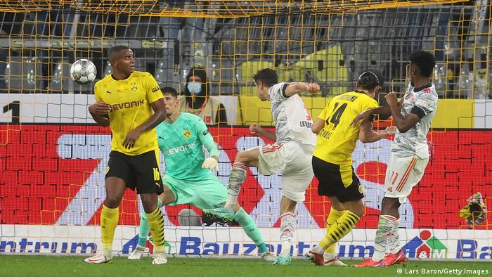 Robert Lewandowski breaks the deadlock with a thumping header shortly before halftime.