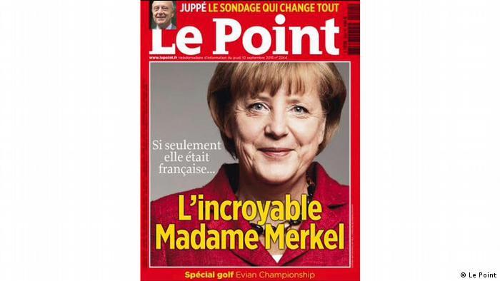 """Okładka magazynu """"Le Point z 2015 roku: """"Niesamowita madame Merkel. Gdyby tylko była Francuzką..."""""""