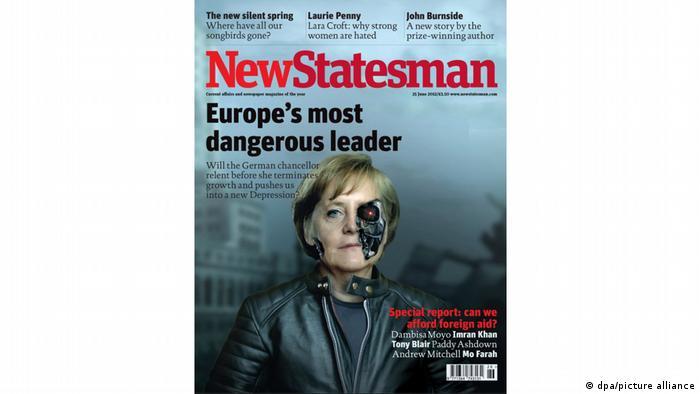 Меркел не може лесно да избяга от имиджа си на прекалено могъща лидерка. Британското политическо списание New Statesman я изобрази през юни 2012 година като опасната машина за убийства Терминатор. В тази роля обикновено сме свикнали да гледаме Арнолд Шварценегер. Според въпросното издание, Ангела Меркел е най-опасната германска лидерка след Адолф Хитлер, по-опасна дори от Ким Чен Ун.