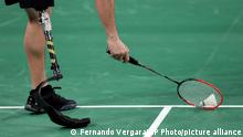 Pedro Pablo de Vinatea of Peru plays during an exhibition of para-badminton at the Pan American Games in Lima, Peru, Friday, Aug. 2, 2019. Vinatea will take part in the Para-Panamerican games in Peru. (AP Photo/Fernando Vergara)