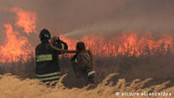 Fire fighters struggles with a blaze near the village of Kustaryovka