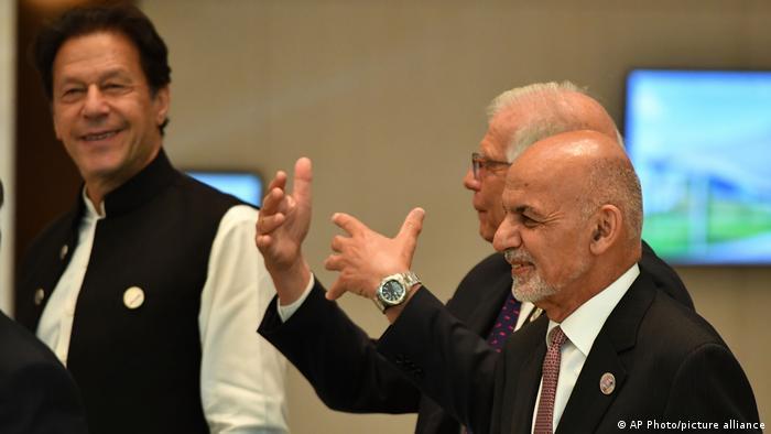 Afghanistan's former President Ashraf Ghani, Representative of the EU for Foreign Affairs, Josep Borrell, and Pakistan's Prime Minister Imran Khan