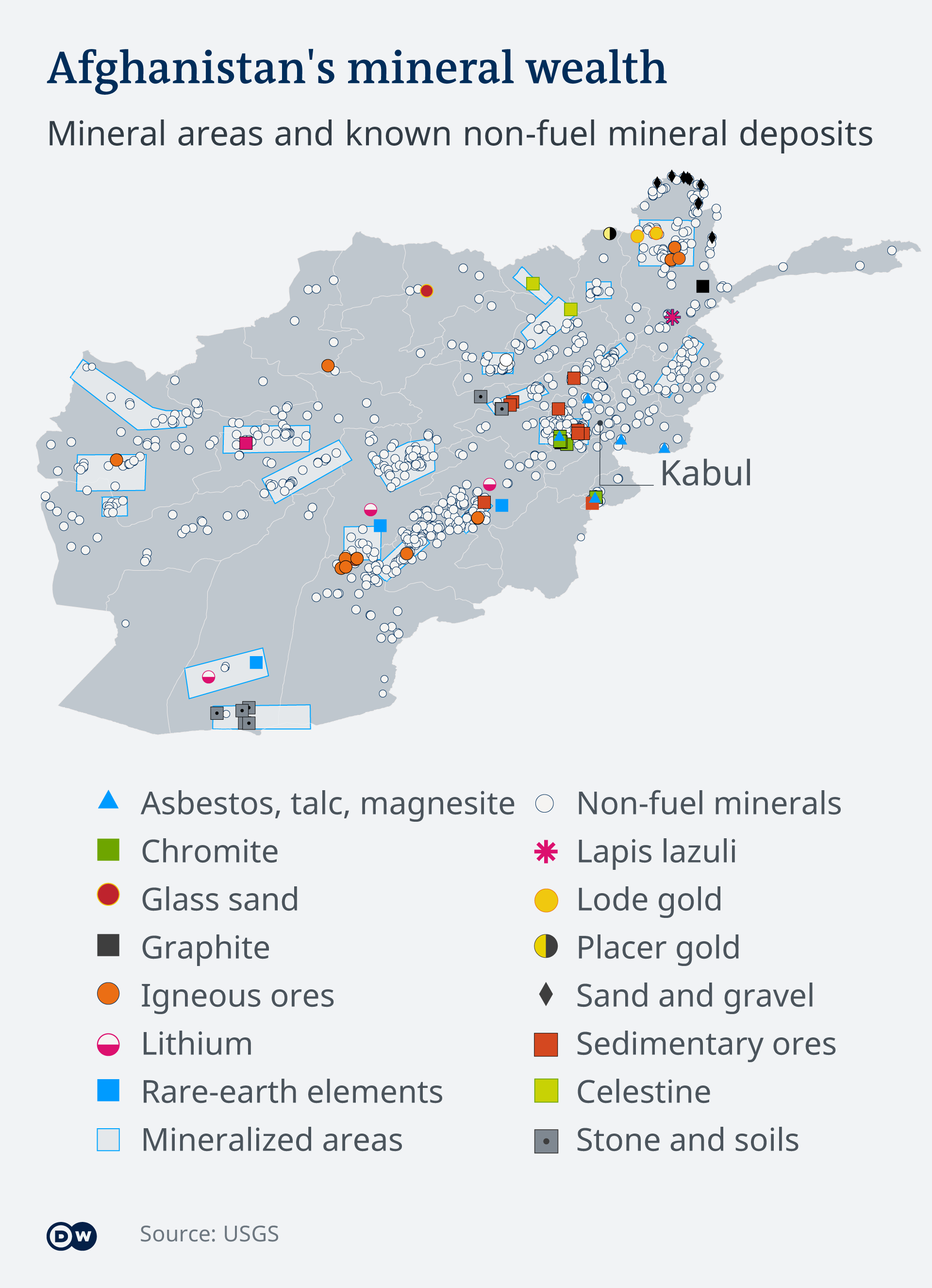 Map showing Afghanistan's mineral wealth