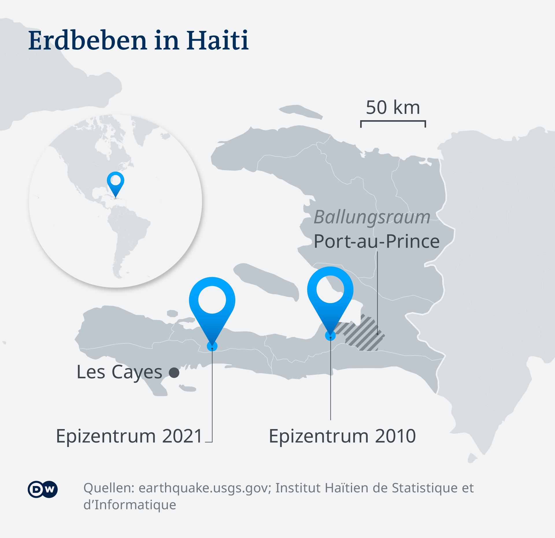Karte Infografik Erdbeben Haiti 2010 und 2021 DE