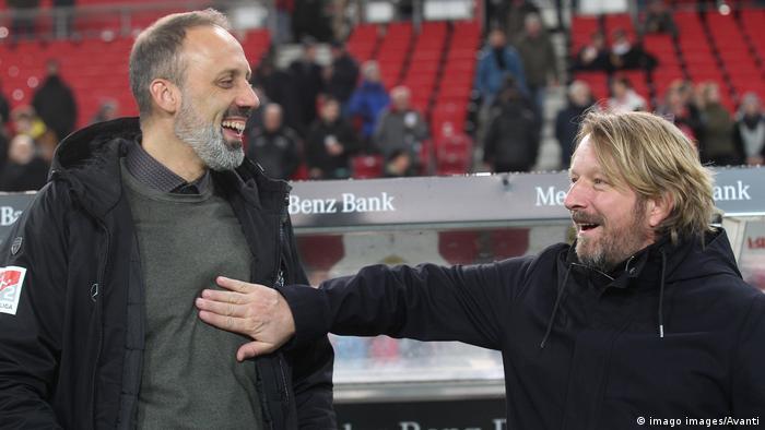 Stuttgart head coach Pellegrino Matarazzo and sporting director Sven Mislintat