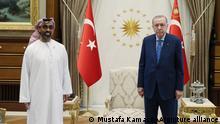 ANKARA, TURKEY - AUGUST 18: Turkish President Recep Tayyip Erdogan (R) meets UAE's national security adviser Sheikh Tahnoon bin Zayed al-Nahyan (L) at Presidential Complex in Ankara, Turkey on August 18, 2021. Mustafa Kamaci / Anadolu Agency