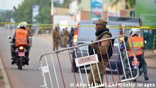 Burkina Faso police establish a barrier on August 14, 2017 in Ouagadougou, following a deadly attack by gunmen on a restaurant. Security forces in the Burkina Faso capital early August 14 concluded an operation against suspected jihadist gunmen who launched a deadly attack on a restaurant, the communications minister announced. The operation has ended but searches of the Ouagadougou neighbourhood around the restaurant are continuing, the minister, Remis Dandjinou, told a press briefing carried on social media. He confirmed a total of 18 dead since the attack began Sunday night, with two terrorists killed. / AFP PHOTO / Ahmed OUOBA (Photo credit should read AHMED OUOBA/AFP via Getty Images)
