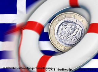 Symbolic life ring and euro coin superimposed over Greek flag