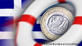 A life ring, a euro coin, and a Greek flag
