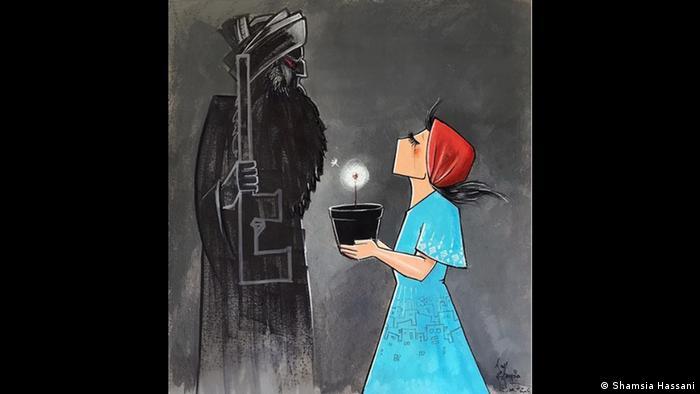 Grafite com homem todo na cor preta e mulher de vestido azul e lenço vermelho na cabeça e um pote escuro nas mãos