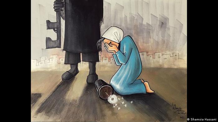 Grafite com mulher de vestido azul e lenço branco na cabeça chorando aos pés de homem todo negro