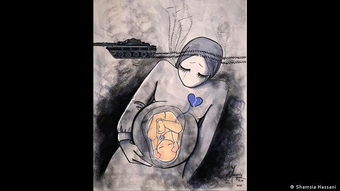 Grafite mostra tanque passando pela cabeça de mulher grávida