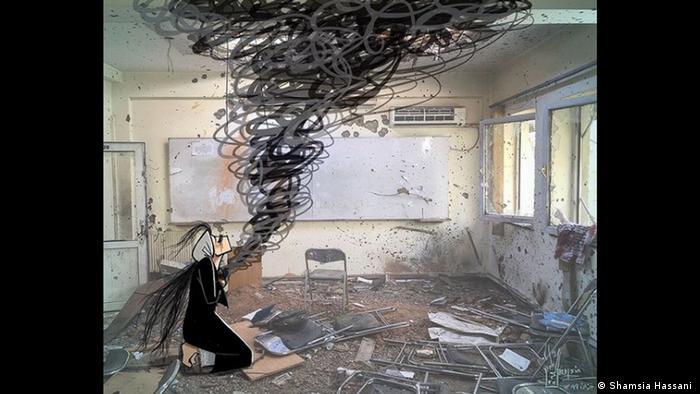 Desenho sobre foto mostra mulher de preto nas ruínas de uma sala de aula