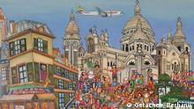 Geboren in Addis Abeba, wurde Getachew Berhanu von klein auf in die äthiopische Bildtradition eingetaucht, dank der Lehren seines Vaters, eines Künstlers, der selbst bei traditionellen Malern ausgebildet wurde. Seit fast dreißig Jahren erzählt er visuelle Geschichten und nutzt dieses einzigartige Erbe nun, um lebendige Straßenszenen zu komponieren, sei es, um die Atmosphäre der Märkte von Mayotte, die Nachtclubs der äthiopischen Hauptstadt oder den Rhythmus der Pariser Boulevards. Getachew Berhanu, der sich heute als Äthiopier in Paris bezeichnet, lässt sich von seinen langen Spaziergängen durch die Hauptstadt inspirieren, um die Details und Charaktere zu entdecken, die seine Gemälde bereichern werden.