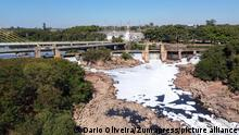 June 3, 2021, sao paulo, sao paulo, Brazil: aerial view of foam caused by pollution and drought at the Salto dam. The federal government issued a water emergency alert this Thursday 27, for the period from June to September in Sao Paulo and four other states located in the Parana River basin, where little rain is forecast for the period . It is the first time such an alert has been issued. In the metropolitan region, the rainfall deficit in relation to the historical average has been happening for months (Credit Image: © Dario Oliveira/ZUMA Wire