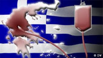 A Greek flag, Greek map, and a medical drip wired up to Greece