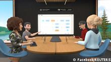 Facebook's test of its new Horizon Workrooms remote-working app for its virtual reality Oculus Quest 2 headsets is shown in this handout image obtained by Reuters on August 18, 2021. Facebook/Handout via REUTERS ATTENTION EDITORS - THIS IMAGE HAS BEEN SUPPLIED BY A THIRD PARTY. NO RESALES. NO ARCHIVES