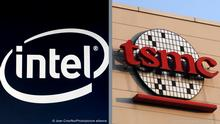 LINKS Intel logo exhibited during the Mobile World Congress, on February 28, 2019 in Barcelona, Spain. (Photo by Joan Cros/NurPhoto) RECHTS: epa03469483 A photo made available 13 November 2012 shows the logo of Taiwan Semiconductor Manufacturing Corp (TSMC), at its headquarters in Hsinchu, west Taiwan, on 02 November 2012. It was reported that the board of TSMC, the world's largest contract chip maker, on 13 November 2012, approved capital appropriations of about 2.975 billion US dollar to expand advanced process capacity, build a 12-inch GigaFab and install facilities systems. It also approved R&D capital appropriations and 2013 sustaining capital appropriations totaling about 209.5 million US dollars. EPA/DAVID CHANG