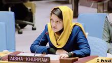 Photo1 name: Aisha Khurram, Kabul University student Time: 2019 Place: The USA Photo 2 name: Aisha Khurram speaks in the UN Time: 2021 Place: Afghanistan Keyword: Kabul University student, Aisha Khurram, Afghanistan, Afghan, Afghan women Copyright: Aisha Khurram
