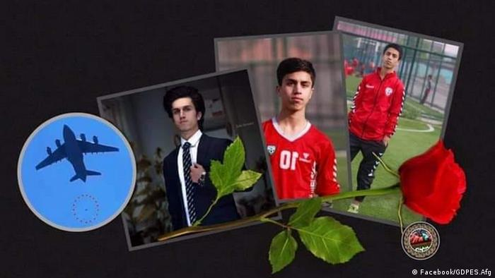 A tribute to Afghan footballer Zaki Anwari who fell to his death from a US transport plane