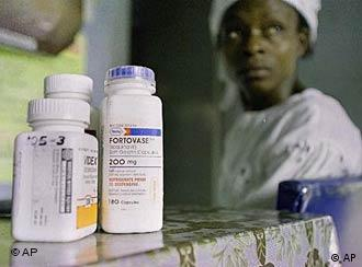 An HIV patient in Nigeria with her medications