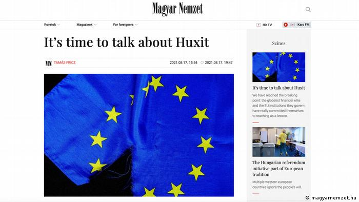 Screenshot of the magyarnemzet.hu website with the headline: 'It's time to talk about Huxit