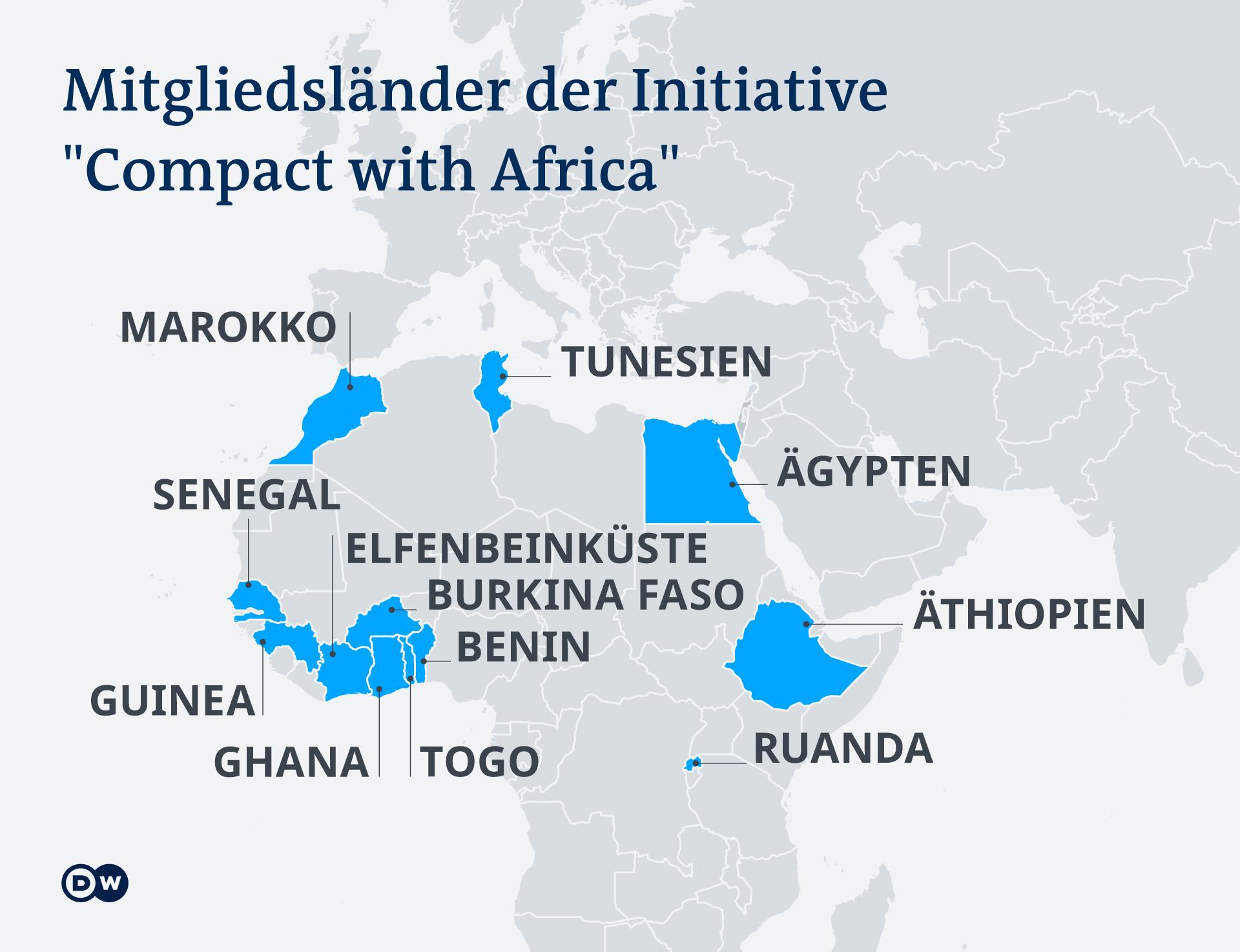 Infografik Karte Mitgliedsländer der Initiative Compact with Africa DE