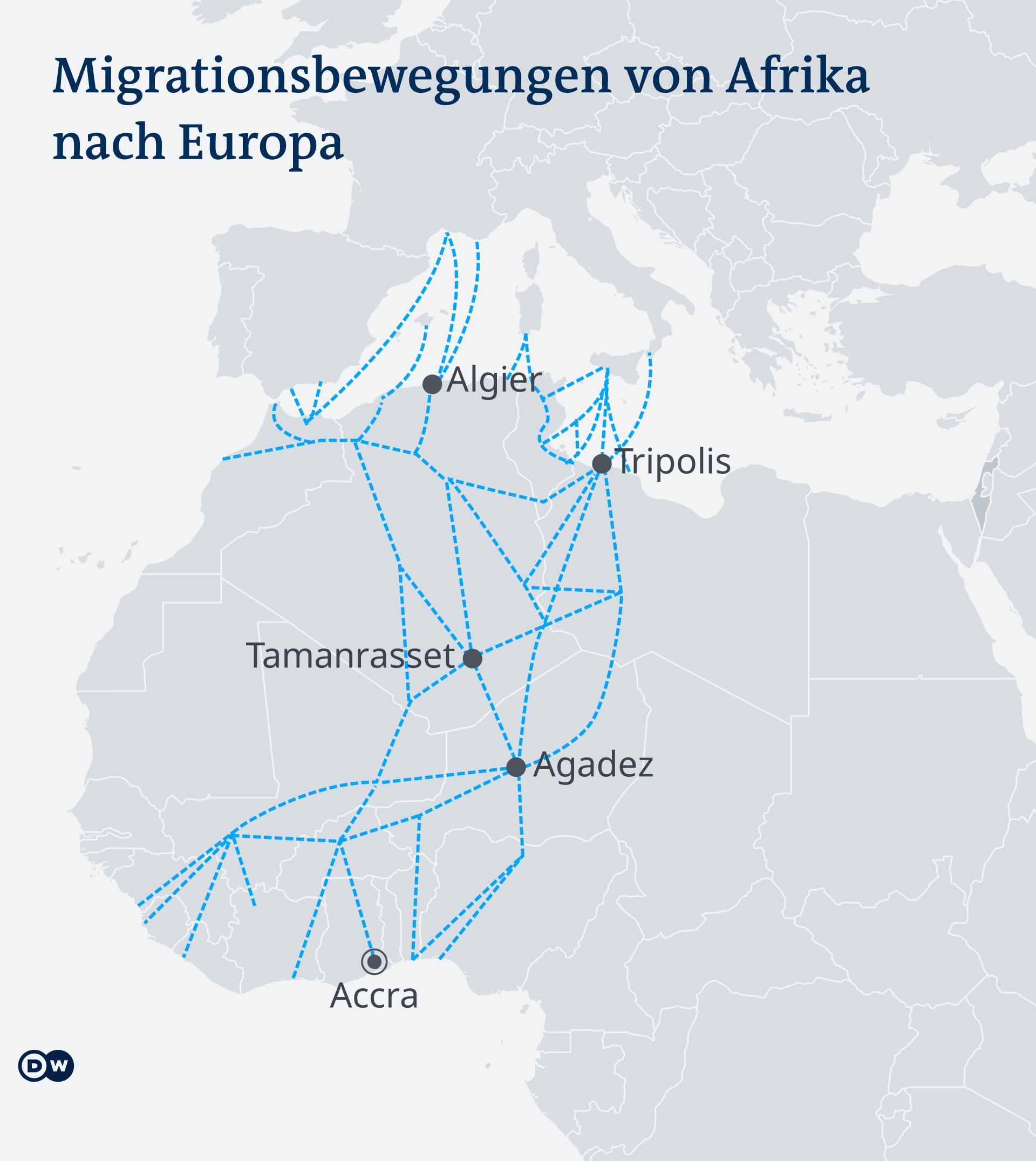 Infografik Karte Migrationsströme von Westafrika nach Europa DE