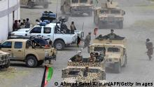 Afghan security forces on Humvee vehicles move in a convoy at Parakh area in Bazarak, Panjshir province on August 20, 2021, after the Taliban stunning takeover of Afghanistan. (Photo by AHMAD SAHEL ARMAN / AFP) (Photo by AHMAD SAHEL ARMAN/AFP via Getty Images)
